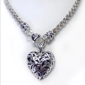 Heart Puffy Charm Necklace w/Earrings Set